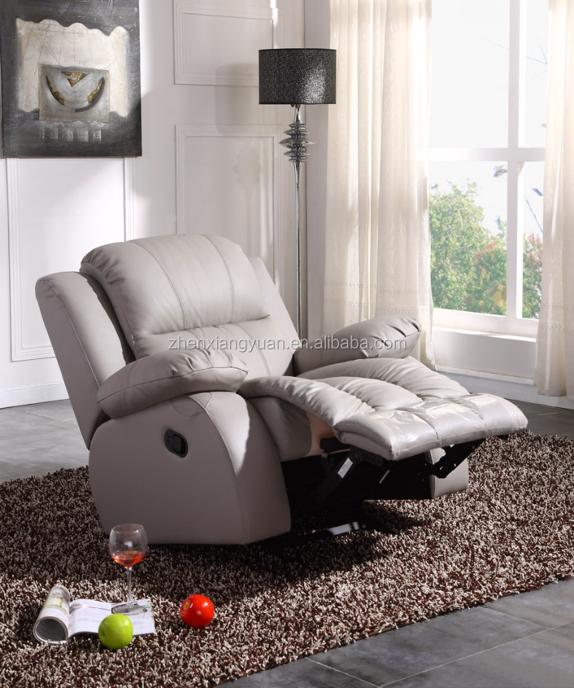 2017 fashion Top selling grey leather functional chair with rocker recliner