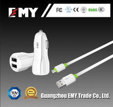 Good supplier direct fashionable car charger quick cell phone charger 2 in 1 car chagers with white usb cable