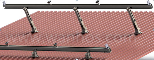 Adjustable tilt solar panel bracket for roof