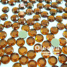 Factory Wholesale Coffee Color Similar Korea AA Grade Hot Fix Rhinestones.Top Quality Bulk HotFix Two Cut Stones for Clothing