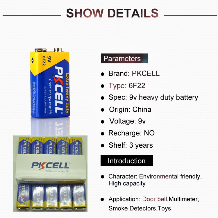 PKCELL hot sale zinc carbon single use 9v dry cell battery 6f22 heavy duty battery for microphone