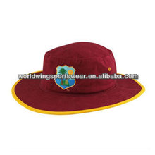Mens customized maroon and gold 108*56 cotton twill embroidered sports cricket cap hat