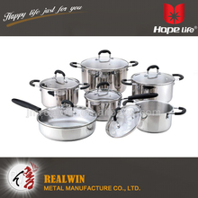 Wholesale in china palm restaurant stainless steel cookware 7pc cookware set , stainless steel cookware