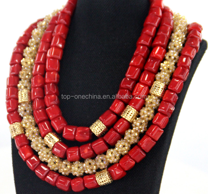 Coral jewelry set women fashion cloth beads coral necklace for bride wedding wear unique jewelry design