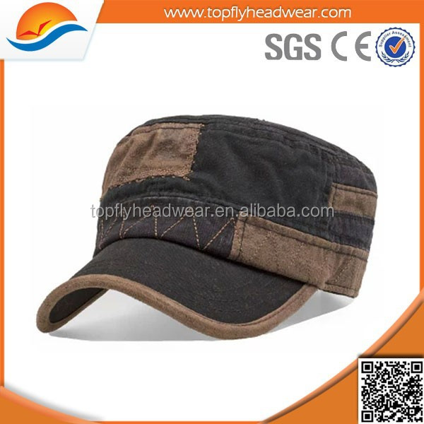 100% cotton fashion army hat wholesale custom embroidered flat top military caps pattern