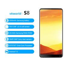Shenzhen OEM Mobile Phone VKWORLD S8 MTK6750T Android 7.0 5.99'' HD 4G RAM 64G ROM 16MP 5500mAh Big Battery Cheap 4G Phones