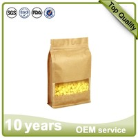 16*26+8 brown paper box Standing Side Gusset PE Lined Kraft Paper Packaging Quad Seal Flat Block Bottom Coffee Bags