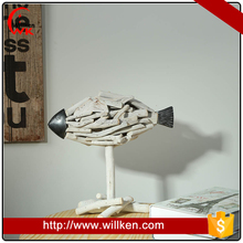 Hand wood carve fish craft design with top quality