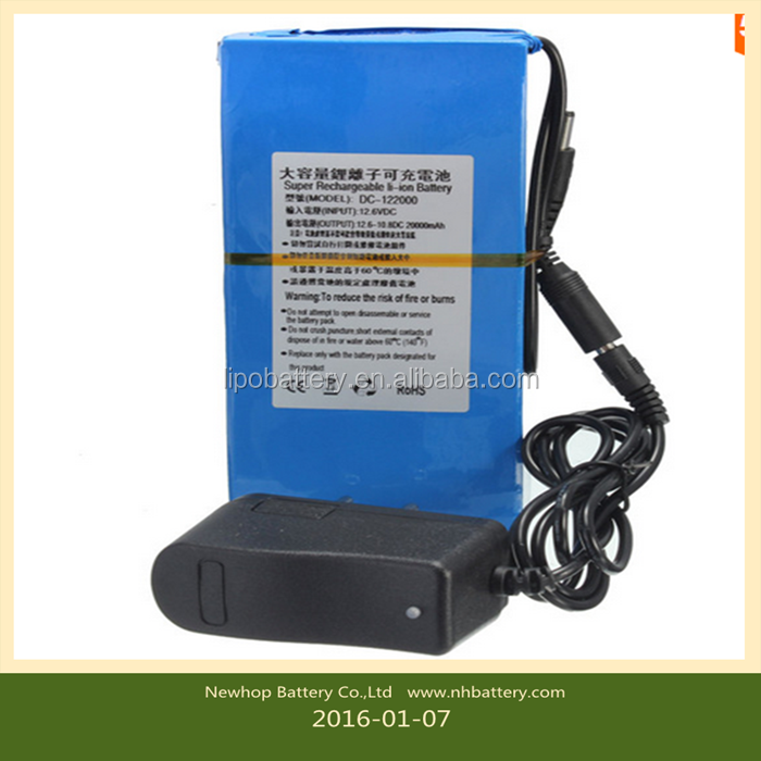 Hot selling D C 12V 20000mAh Li-ion Super Rechargeable Battery Pack and AC Charger W/ EU Plug