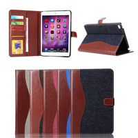 China Alibaba wholesale Jeans PU leather case for ipad mini 4, for ipad mini 4 leather case wallet hot selling