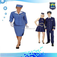 Fancy Dress Blue Cabin Crew Air Hostess Stewardess uniform, uniform workwear