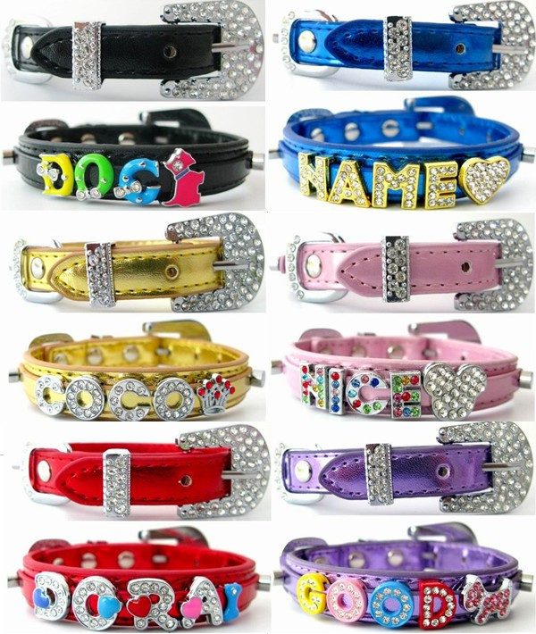 Personalized Paillette PU Leather Pet Dog Cat Collar with Rhinestone Buckle, Name and Charm