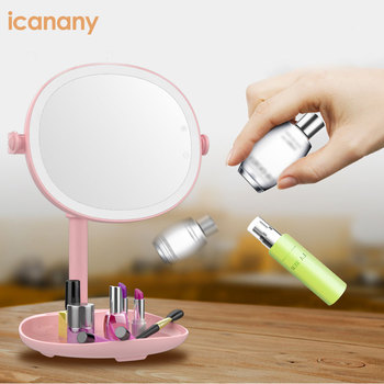 Led Lighted Makeup Mirror with 5X Magnifying Small Mirror Touch Screen Supply Stand Desk Trifold mirror
