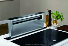 Downdraft slide out range hood
