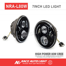 Auto light high power 80W led HEADLIGHT 7'' round LED angle eye ring Light for Jeep wrangler