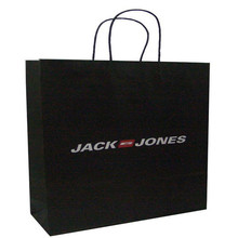 promotional advertising logo print black color jumbo paper cloth carry shopping packaging bags wholesale