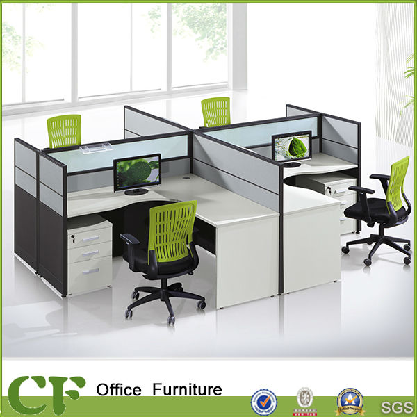 L shaped curved desktop office workstation for 4 person