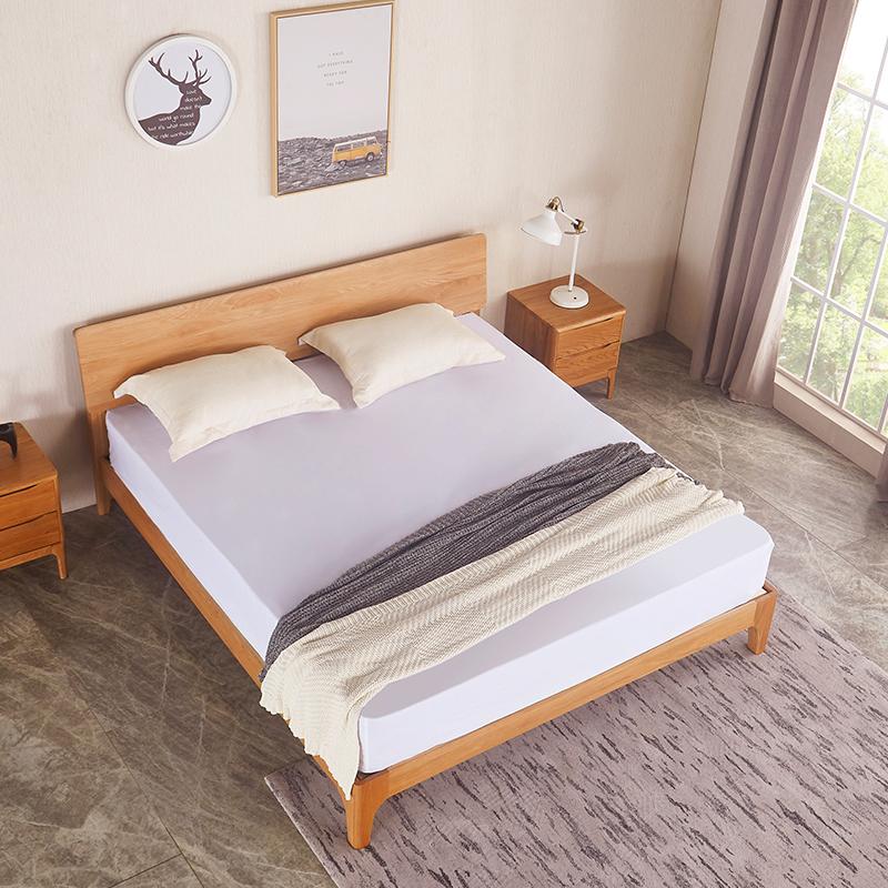 Modern Nordic Furniture Solid Wood King Single Platform Bed For