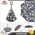 Wholesale price self-standing automatic open double layer windproof straight reverse umbrella