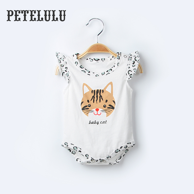 Lace Sleeve Leopard Print Screen Printing Baby Cat Newborn Baby Romper Baby Wear