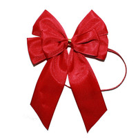 special design red satin pretied bow wit elastic loop for gift packing /cheap wholesale satin ribbon bow /make satin ribbon bow