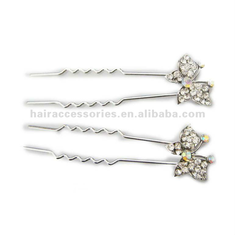 crystal butterfly waved pin hair forks