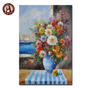 sample picture of canvas knife wall art lotus flower oil painting