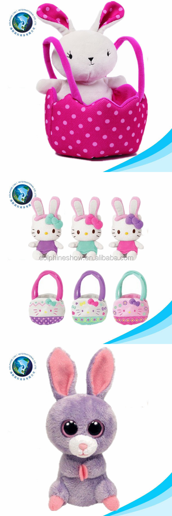 2015 hot selling various soft easter day bunny and basket stuffed plush easter bag