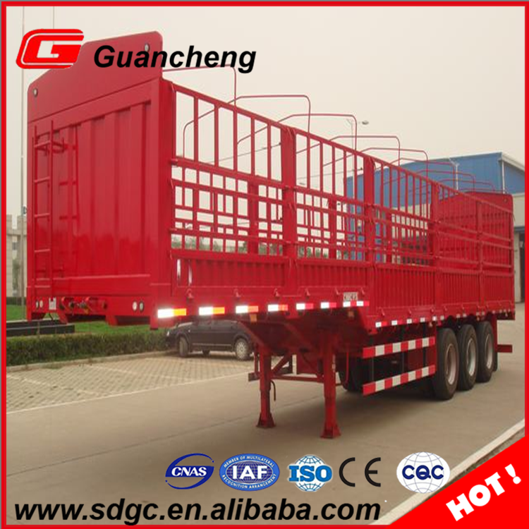 Factory price stake fence livestock gooseneck semi trailer grid fence truck trailer