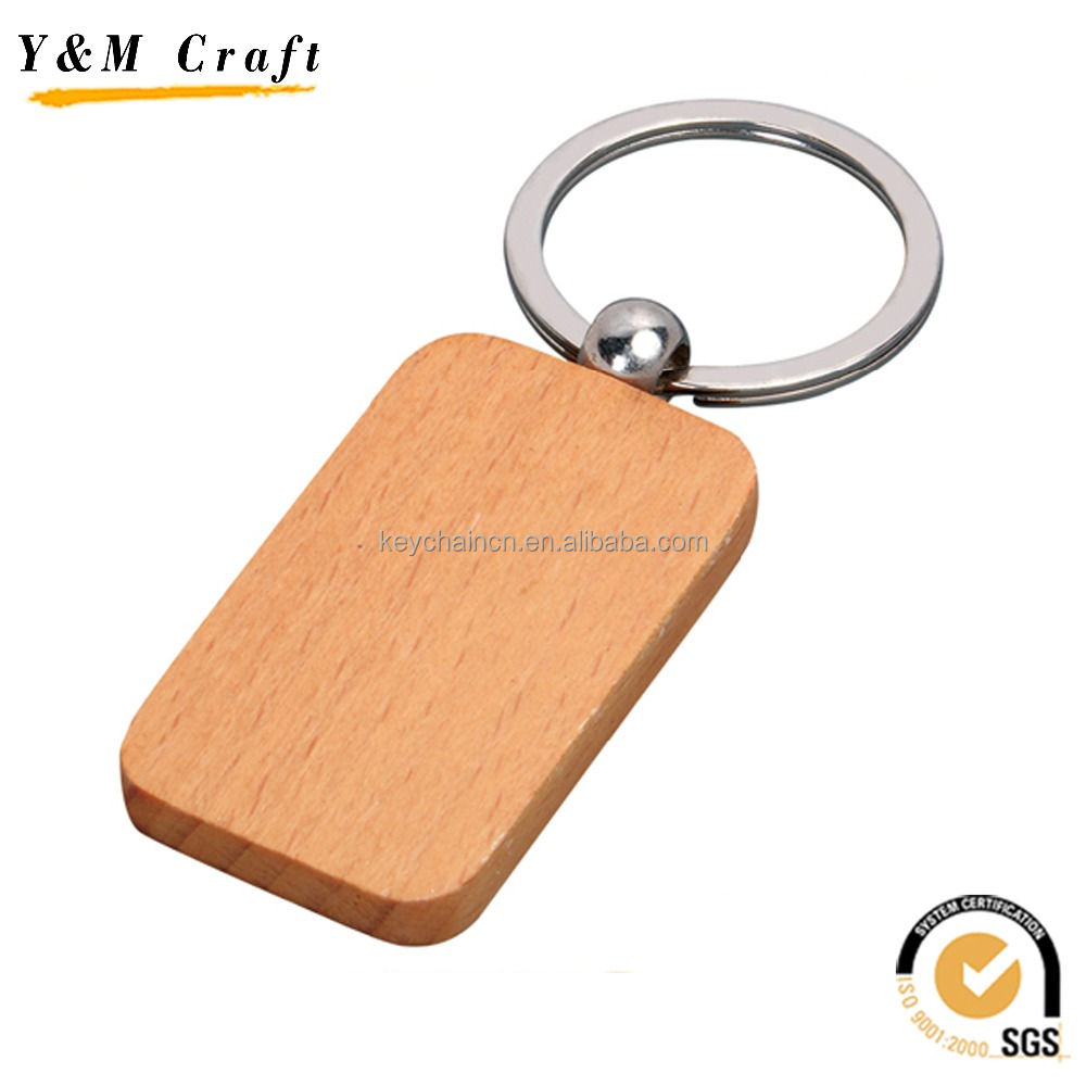 Promotional gifts cheap custom logo blank wooden key chain, key holder