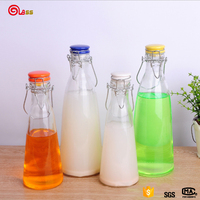 Clear glass fruit juice beverage container water bottle