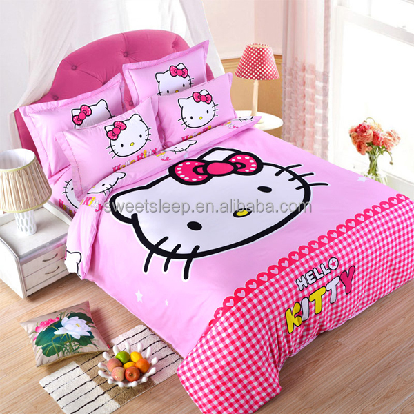 China factory: hello kitty bed sheet set, hello kitty bedding set manufacture