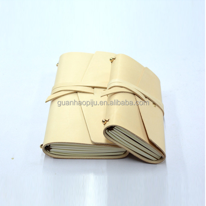 Vegetable Tanned Leather Refillable Custom Notebook With Wrap around Strap