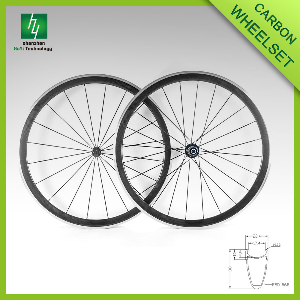 Carbon Aluminum alloy bicycle wheelset 38mm bicycle carbon wheels 700c carbon road bike wheelset
