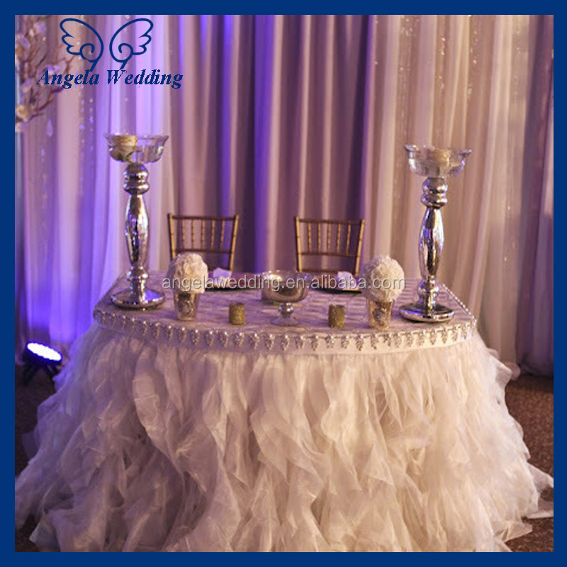 CL010E Cheap Hot sale elegant organza round ruffled curly willow frilly champagne fancy wedding table cloths