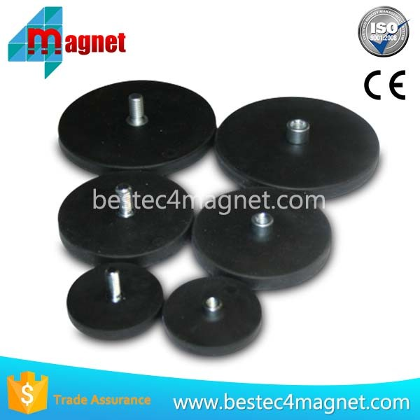 Rubber Coated Permanent Neodymium Pot Magnet With Thread Rod