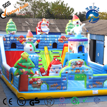 Christmas theme happy santa inflatable fun city, outdoor giant amusement park inflatable snowman slide with climbing wall combo