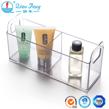 China supplier three divide storage acrylic makeup organizer box with handle
