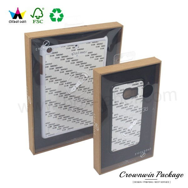 crown win custom design clear pvc mobile phone case packaging box