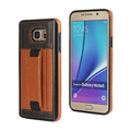 Phone case Hand buckle Strap Leather back cover credit Card Slot stand holder Bracket Case for Samsung note5