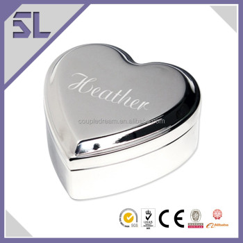 Newly Elegant Silver Plated Heart Trinket Box Jewelry Storage Trinket Boxes for Wedding or Christening Used