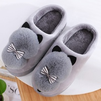 Wholesale custom cute cat women kids slippers non slip flat sole ladies home indoor shoes soft plush bedroom washable slippers