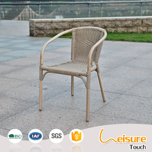 Outdoor high back arm rattan chair french aluminum metal bistro chairs