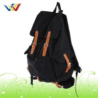Fashion outdoor backpack canvas backapck with leather for women