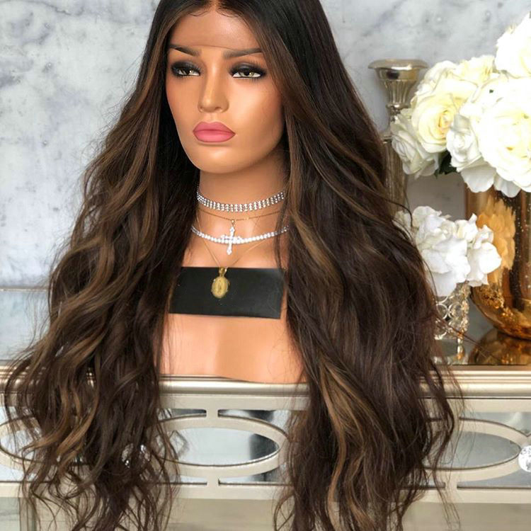 Beautiful style innocent deep curly Indian virgin hair full lace wig Ombre Pre Plucked hairline for ladies