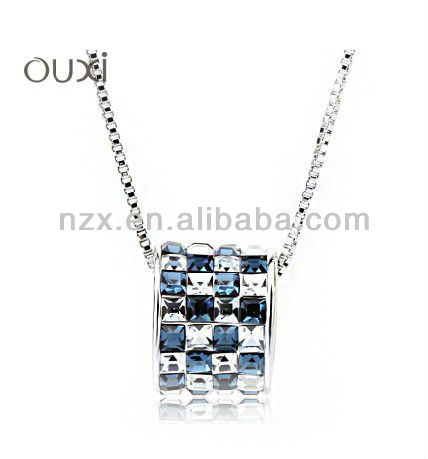 OUXI wholesale lucky circle blue crystal women fashion necklace 10019