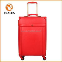 Nice Red Soft PU Travel Trolley Luggage Bag For Sale