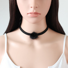 6MM Black Velvet Choker Necklace Punk Gothic Retro Chain with Faux Fur Ball Charm