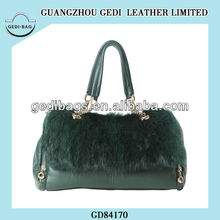 Pop Gift Satchel European Real Fur Baguette Bag Luxury Women Chic Icon Retro Satchel Fashion Classic Genuine Leather Hand Bag