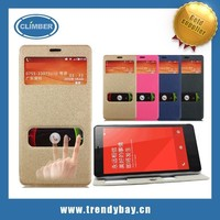 High Quality PU Leather and Screen Protector flip cover case for xiaomi redmi note hongmi